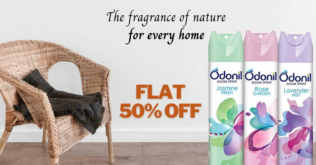 Odonil Room Spray 50% Off on Buy 2 Get 1 Free